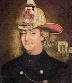 Benjamin Franklin, the Fireman, ca 1850. Charles Washington Wright. Franklin is depicted in the fire helmet worn by the Union Fire Company.[4]