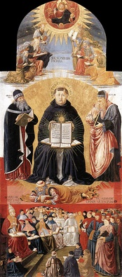 "Triumph of St Thomas Aquinas, ""Doctor Communis"", between Plato and Aristotle, Benozzo Gozzoli,1471. Louvre, Paris"