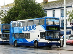A Stagecoach South West bus, operating on the 21A route aka The North Devon Wave. The model of the bus in the picture has recently been replaced by new Alexander Dennis Enviro400 buses.
