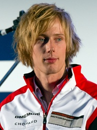 Brendon Hartley (pictured in 2014) held the No. 1 Porsche's lead until he retired because of heavy contact with Michael Wainwright.