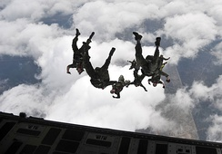 Members of the Canadian Special Operations Regiment during a freefall jump out of a USAF C-17 Globemaster III. The regiment is one of five units that make up CANSOFCOM.