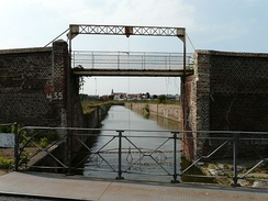 The entrance from the Scheldt canal, the canal which serves the old docks and warehouses of Cambrai