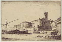 Civitavecchia in 1795, etching by William Marlow.