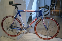 One exhibit at the library features a bike given to Clinton by Lance Armstrong