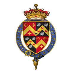 Arms of Henry Rich, 1st Earl of Holland, KG: Rich quartering: Sable, on a chevron engrailed or between three demi-griffins segreant ermine as many martlets gules (Baldry, for his paternal grandmother Elizabeth Baldry, wife of Robert Rich, 2nd Baron Rich)
