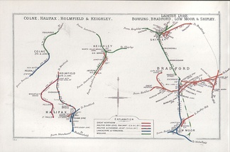 Railway clearing house map showing lines north of Halifax in 1913