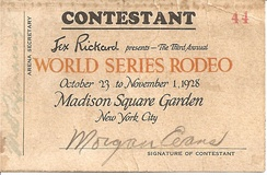 """Cowboy Morgan Evans"" 1928 World Series Rodeo Contest entry chit"