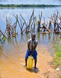 Makeshift barrier in Uganda to lessen the risk of crocodile attacks