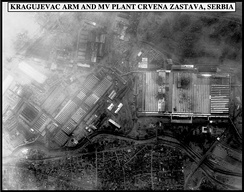 Post-strike bomb damage assessment photograph of the Kragujevac Armor and Motor Vehicle Plant Crvena Zastava, Serbia