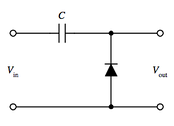 This simple diode clamp will clamp the negative peaks of the incoming waveform to the common rail voltage