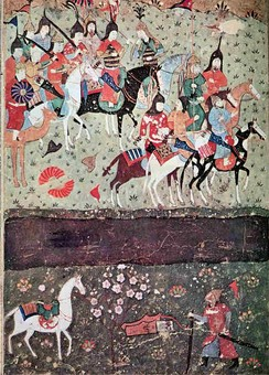 Genghis Khan at the banks of the Indus River, watching Jalal ad-Din Khwarizmi cross the river.