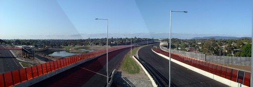 A panoramic view of EastLink looking north from the Heatherton Road bridge.