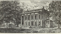 Gerrit Smith house, Peterboro, New York, from an 1878 book. The house was destroyed by fire in 1936.
