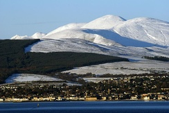 A telephoto view of Helensburgh looking north from Greenock