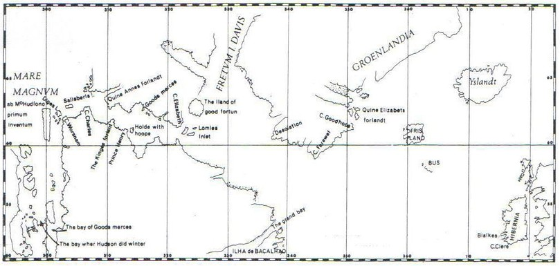Map of Hudson's fourth voyage