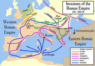 The Barbarian Invasions consisted of the movement of (mainly) ancient Germanic peoples into Roman territory. Even though northern invasions took place throughout the life of the Empire, this period officially began in the 4th century and lasted for many centuries, during which the western territory was under the dominion of foreign northern rulers, a notable one being Charlemagne. Historically, this event marked the transition between classical antiquity and the Middle Ages.