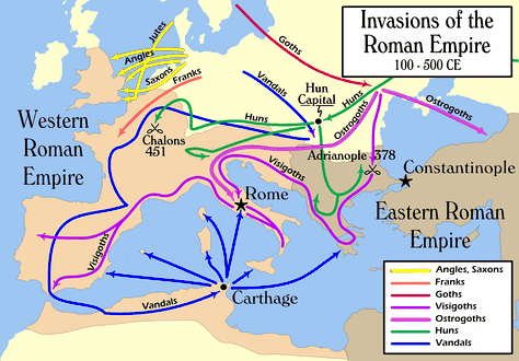 Routes of Babarian invasions, 100–500 AD.