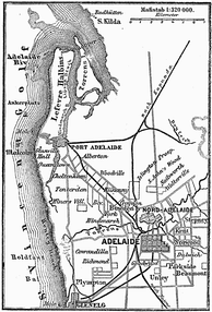 1888 Map of Adelaide, showing the gradual development of its urban layout