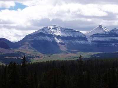 Kings Peak (at right) is the highest summit of the Uinta Mountains, Utah, and the Western Rocky Mountains.