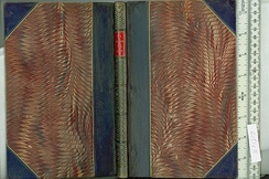 Halfbound book with leather and marbled paper.