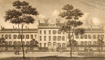 LeRoy Place, south side of Bleecker Street, drawn in 1831. After 1852, the economic status of the area declined and these aristocratic buildings had all been demolished by 1875.