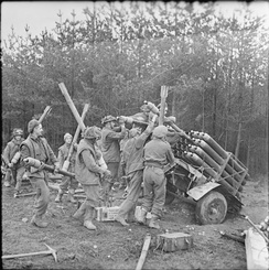 RP-3 rockets being loaded into Land Mattress launchers in preparation for the offensive in the Reichswald, Germany