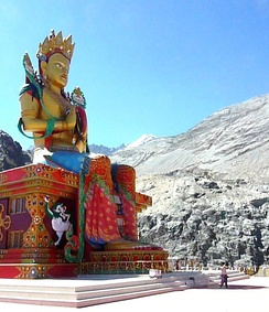 Maitreya - 33 metre symbol of peace facing Pakistan, Nubra Valley, India