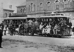 The first cable car service in Melbourne, 1885. From its founding to 1940, Melbourne operated one of the largest cable car networks in the world.