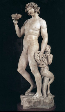 Dionysos, or Bacchus, was known as the god of wine and ritual madness in Greek mythology (Bacchus by Michelangelo 1497).