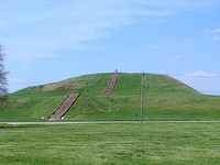 Monks Mound of Cahokia (UNESCO World Heritage Site) in summer. The concrete staircase follows the approximate course of the ancient wooden stairs.