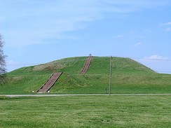 Monks Mound, a platform mound at the site of the Mississippian city of Cahokia.