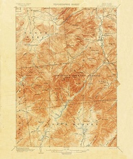 1892 15-minute map (or topographic sheet) of the Mount Marcy area of the Adirondacks in New York State from the first decades of the USGS