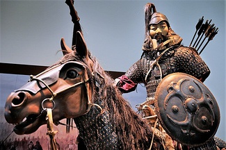 Recreation of a mounted warrior from the Mongol Empire. The Mongol empire was the largest land empire in history and its military was highly respected and feared.