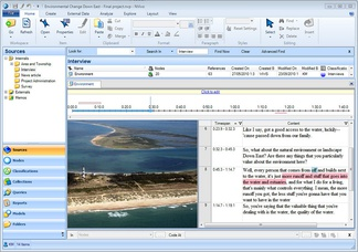 A screenshot of a user coding text on NVivo.