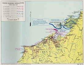 Map of the Brunei Bay area marked with coloured arrows and dates showing the movements of the main units involved in the Battle of North Borneo, including those described in this article