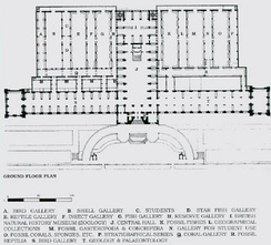 An 1881 plan showing the original arrangement of the museum. This plan was re-drawn by Naama Ferstenfeld based on original plans in the museum's collection. The image is from Carla Yanni, Nature's Museums: Victorian Science and the Architecture of Display, Johns Hopkins UP, 2000.(Link to current floor plans).