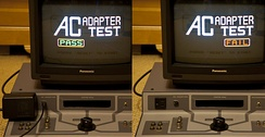 NES test station AC adapter Pass or Fail test demonstration.