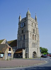 New Romney church tower, an example of English small-town Norman architecture