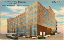 Postcard of the new home of The Oregonian, corner of 6th & Jefferson