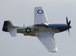 Miss Helen, a P-51D in its wartime markings as flown by Capt. Raymond H. Littge of the 487 FS, 352 FG, on aerial display in 2007. It is the last original 352 FG P-51 known to exist.