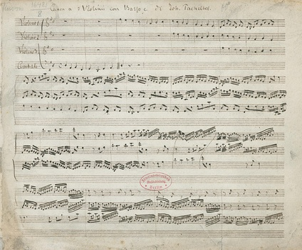 "First page of Mus.MS 16481-8 from Staatsbibliothek zu Berlin—the oldest surviving copy of Johann Pachelbel's ""Canon and Gigue in D major"" (first movement popularly known as ""Pachelbel's Canon""). Shows the first bars of the canon."