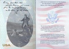 Passport message found inside the United States passport