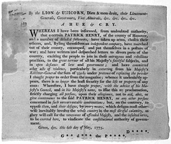 Royal proclamation against Henry, 1775