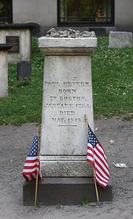 Paul Revere's grave site in the Granary Burying Ground