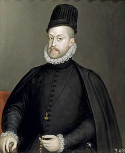 King Philip II of Spain, wearing the Spanish Tocado, late 1500s. Painting by Sofonisba Anguissola.