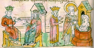 The baptism of Princess Olga in Constantinople, a miniature from the Radzivill Chronicle