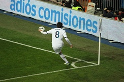 Kaká takes a corner kick for Real Madrid in a La Liga game against Sevilla in February 2013