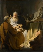 Rembrandt, Two old men disputing, 1628