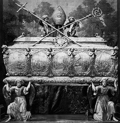 Embossed silver sarcophagus of Saint Stanislaus in the Wawel Cathedral was created in main centers of the 17th century European silversmithery - Augsburg and Gdańsk[1]