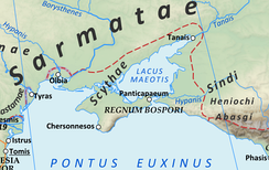 "The territory of the Scythae Basilaei (""Royal Scyths"") along the north shore of the Black Sea around 125 AD."